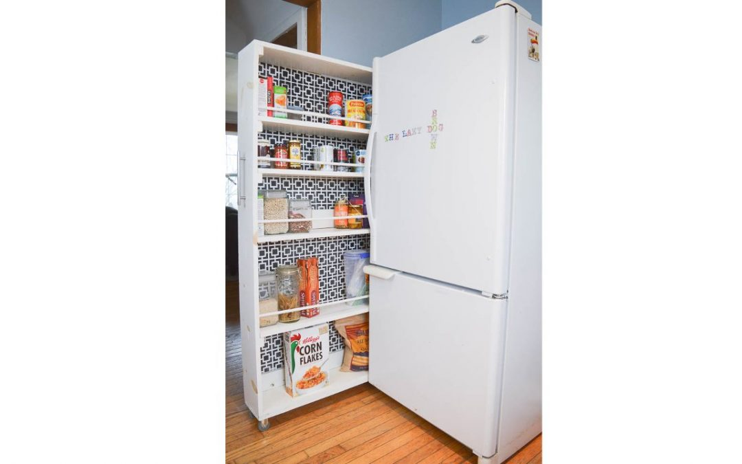 Space Saving Furniture: Rolling Pantry for Canned Goodies