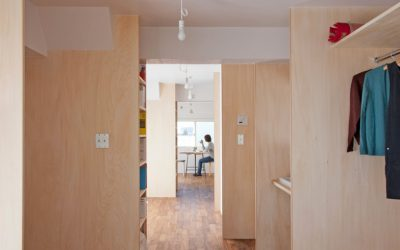 Tiny Home Transformation: Functional Spaces with Wood Dividers by Camp Design Inc.