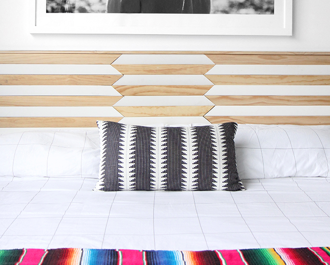 Small Apartment Ideas: DIY Geometric Headboard by iSpyDIY