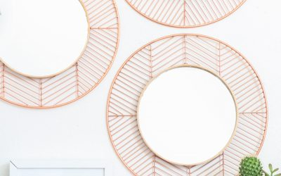 Small Apartment DIY: Geometric Copper Mirror by A Beautiful Mess